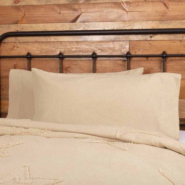 Burlap Vintage King Pillow Case Set of 2 21x40