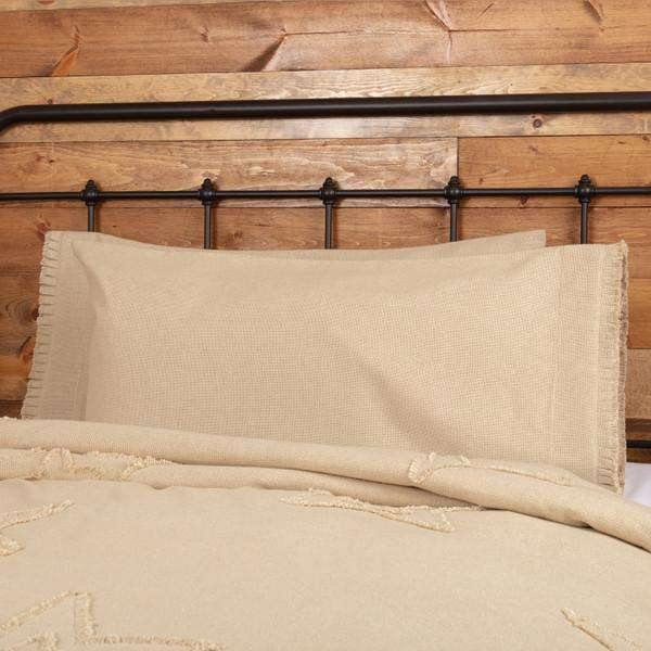 Burlap Vintage King Pillow Case w/ Fringed Ruffle Set of 2 21x40
