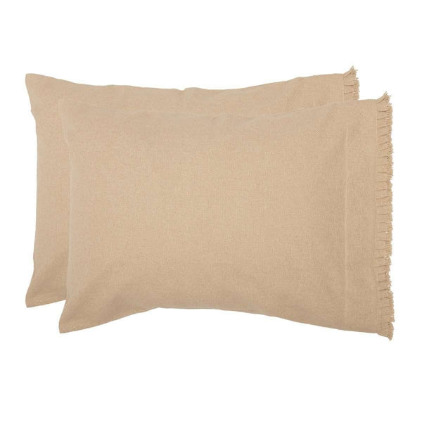Burlap Vintage Standard Pillow Case w/ Fringed Ruffle Set of 2 21x30 VHC Brands