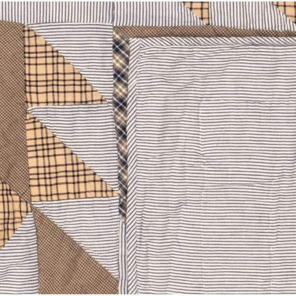 Dakota Star Farmhouse Blue California King Quilt 130Wx115L VHC Brands stripe