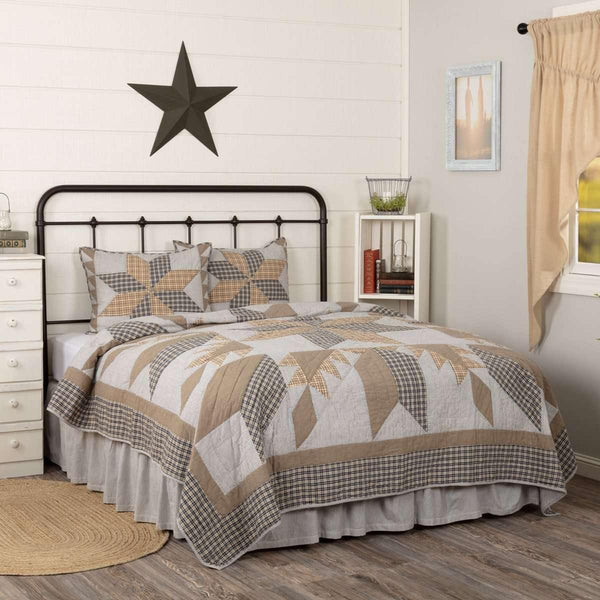 Dakota Star Farmhouse Blue King Quilt Set (1 Quilt 105Wx95L & 2 Shams 21x37) VHC Brands