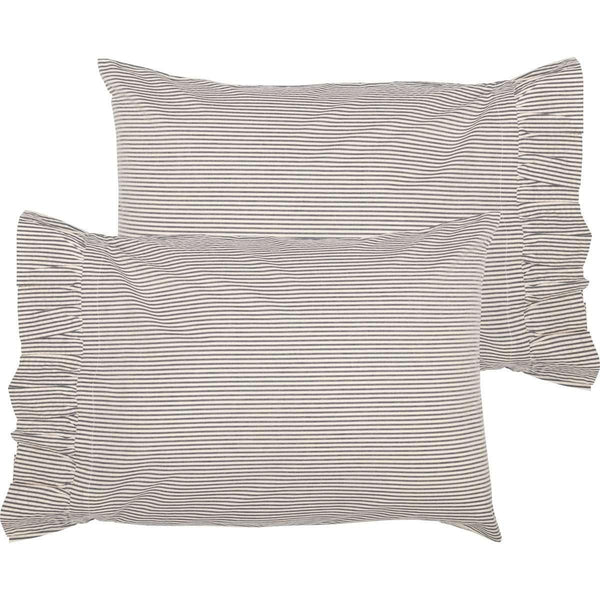 Hatteras Seersucker Blue Ticking Stripe Standard Pillow Case Set of 2 21x30 VHC Brands
