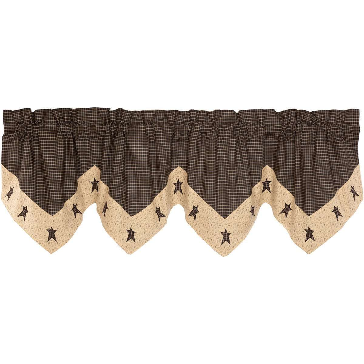 Kettle Grove Star Valance Curtain Country Black VHC Brands - The Fox Decor