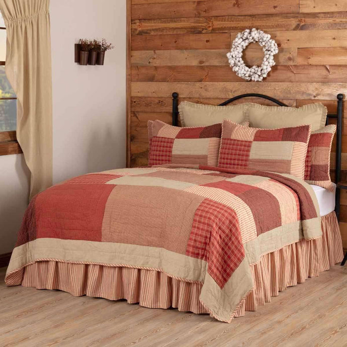 Rory Schoolhouse Red California King Quilt 130Wx115L VHC Brands