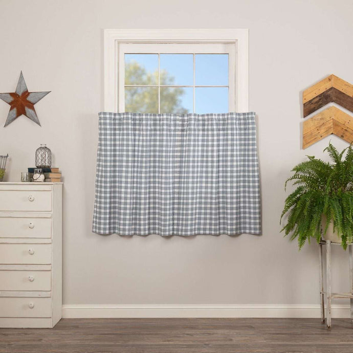 Sawyer Mill Blue Plaid Tier Curtain Set VHC Brands - The Fox Decor