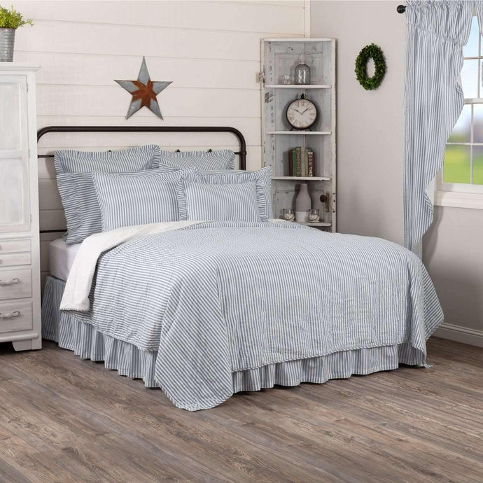 Sawyer Mill Blue Ticking Stripe Quilt Coverlet VHC Brands