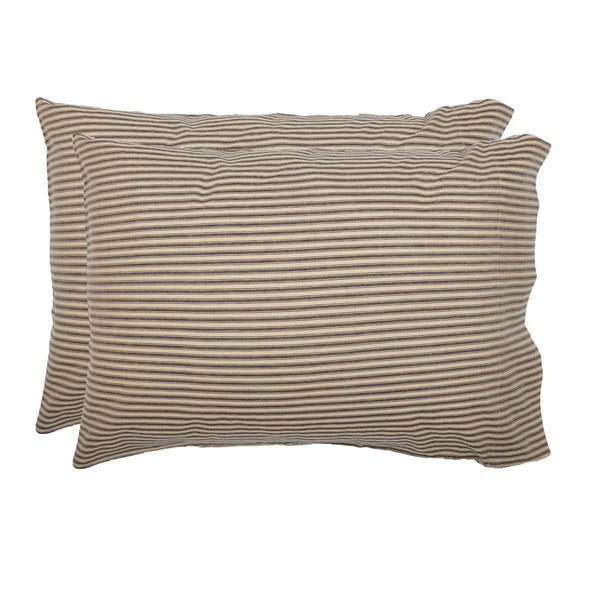 Sawyer Mill Charcoal Ticking Stripe Standard Pillow Case Set of 2 21x30 VHC Brands