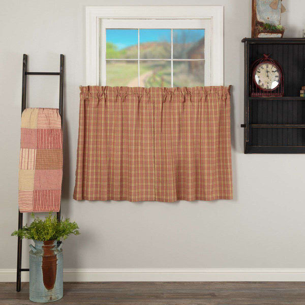 Sawyer Mill Red Plaid Tier Curtain Set VHC Brands - The Fox Decor
