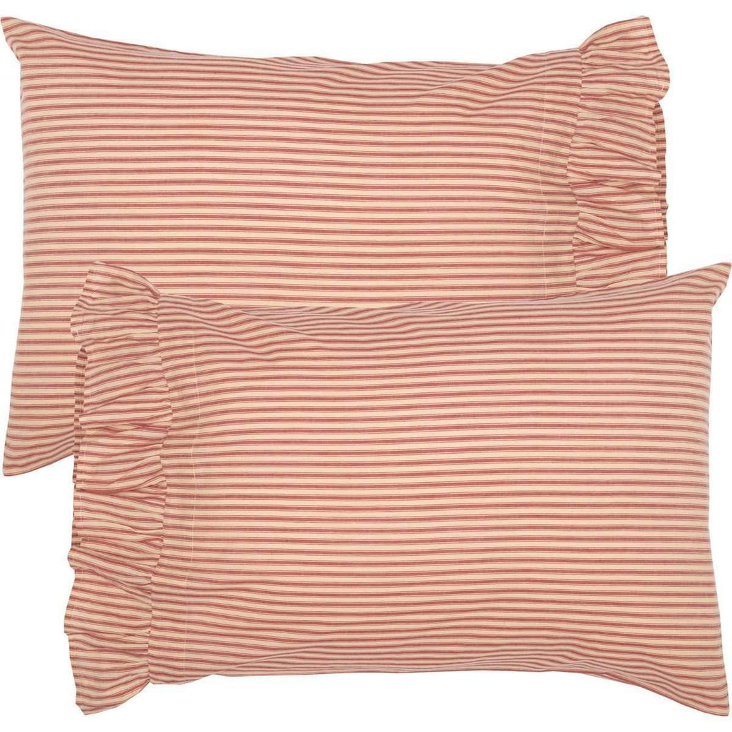 Sawyer Mill Red Ticking Stripe Standard Pillow Case Set of 2 21x30 VHC Brands