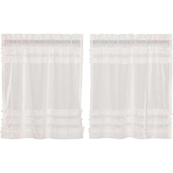 White Ruffled Sheer Petticoat Tier Curtain Set of 2 L36xW36 VHC Brands