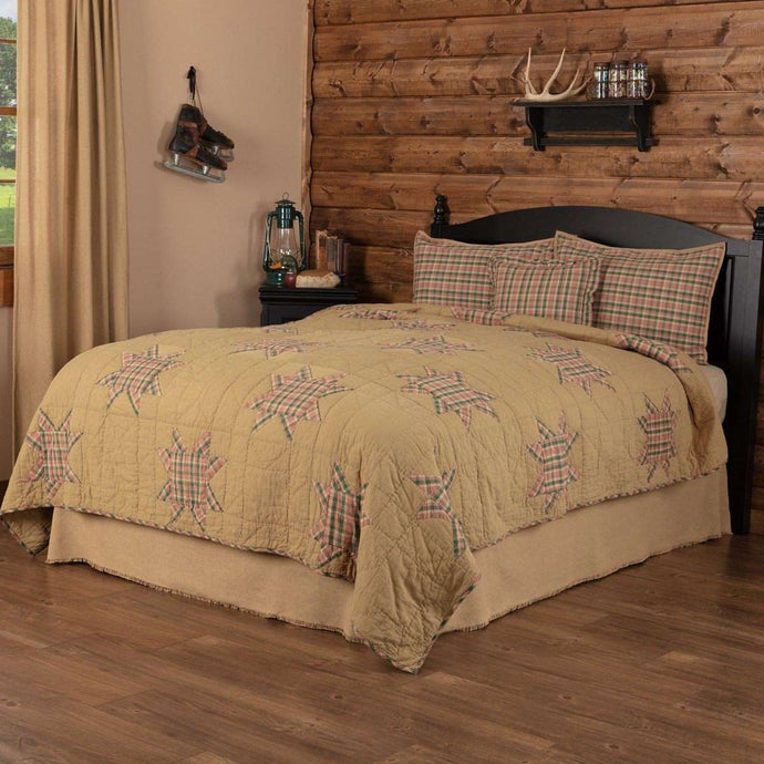 Rustic Star king Quilt Set (1 Quilt, 2 Shams, 1 Pillow Cover) VHC Brands