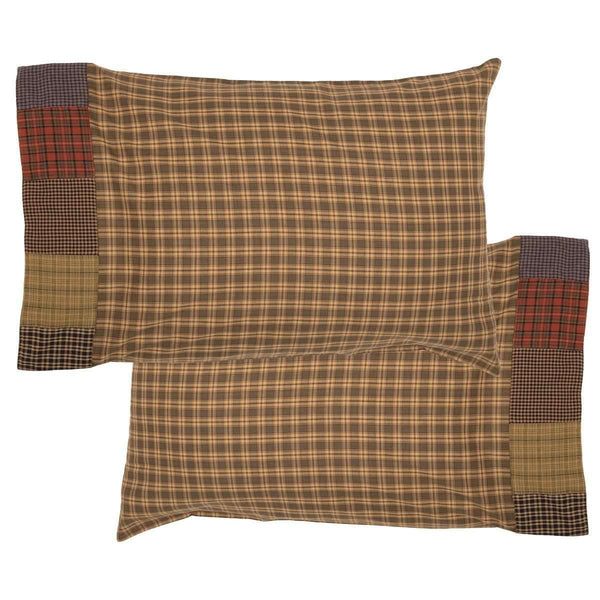 Cedar Ridge Standard Pillow Case with Block Border Set of 2 21x30 VHC Brands