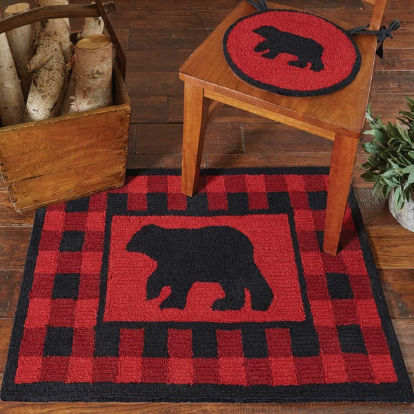 Buffalo Check Bear Hooked Chair Pads Set of 2 Park Designs