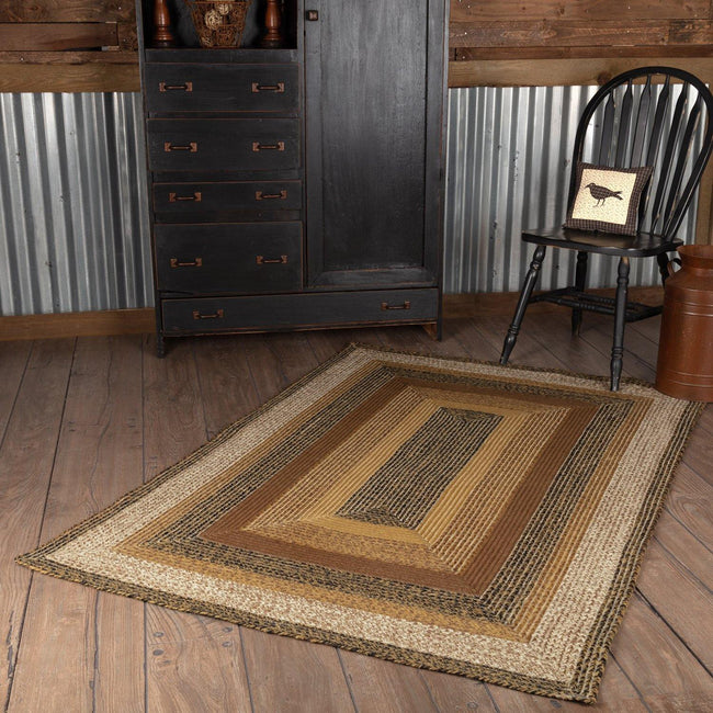Kettle Grove Jute Braided Rug Rect 4'x6' with Rug Pad VHC Brands - The Fox Decor