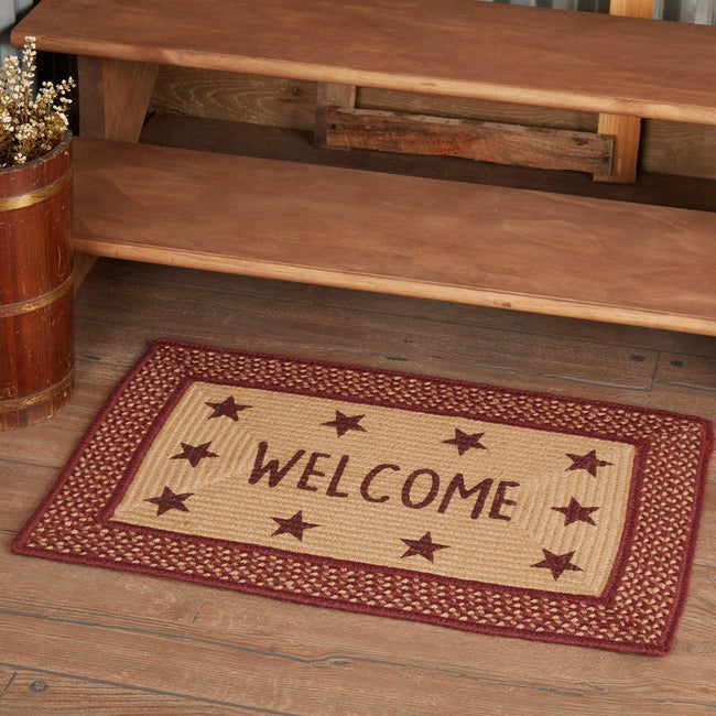 "Burgundy Red Primitive Jute Braided Rug Rect Stencil Stars Welcome 20""x30"" with Rug Pad VHC Brands - The Fox Decor"