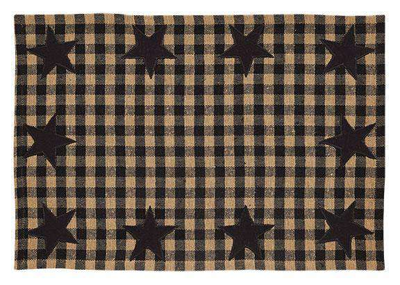 6/Set, Black Star Woven Placemats Tabletop CWI+