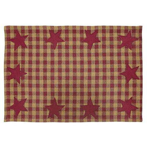 6/Set, Burgundy Star Placemats Tabletop CWI+