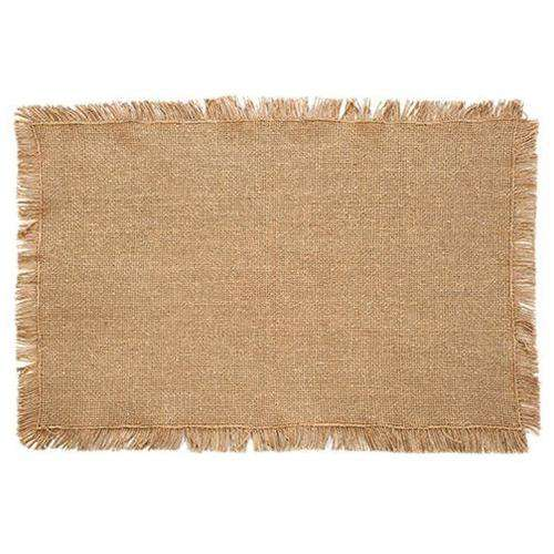 6/Set, Burlap Natural Fringed Placemats, 12x18 Tabletop CWI+