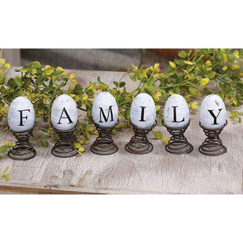 "6/Set, Eggs on Springs, ""Family"" Easter CWI+"