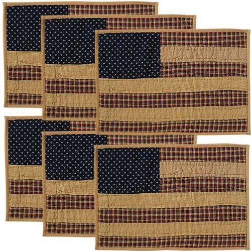 6/Set, Patriotic Patch Quilted Placemats, 12x18 Tabletop CWI+