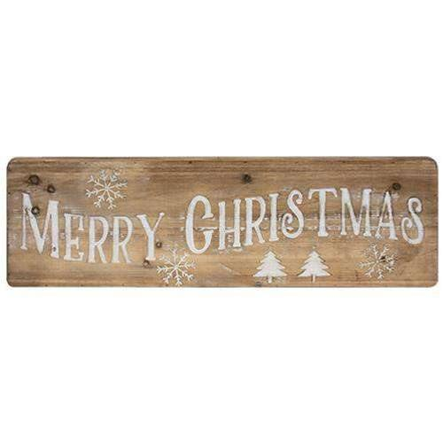 Merry Christmas Natural Wood Sign back