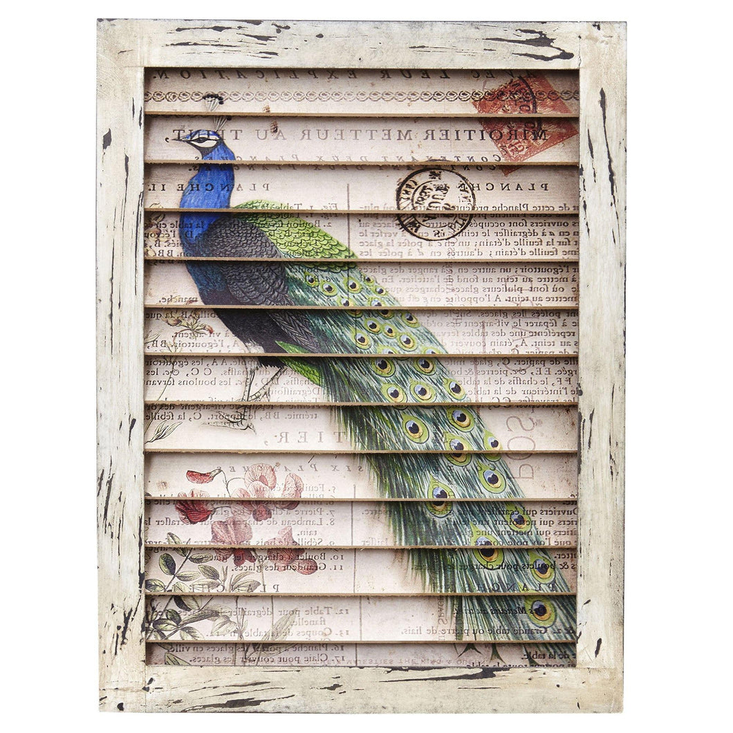 Peacock Window Shutter Wall Décor