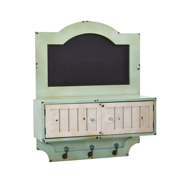 "21.5"" Vintage Chalkboard Wall Organizer With Doors And Hooks"