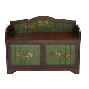 36'' Antique Floral Art Bench With Drawers