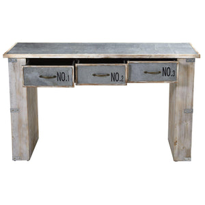 "32"" Industrial White Wash Wood And Metal Desk"