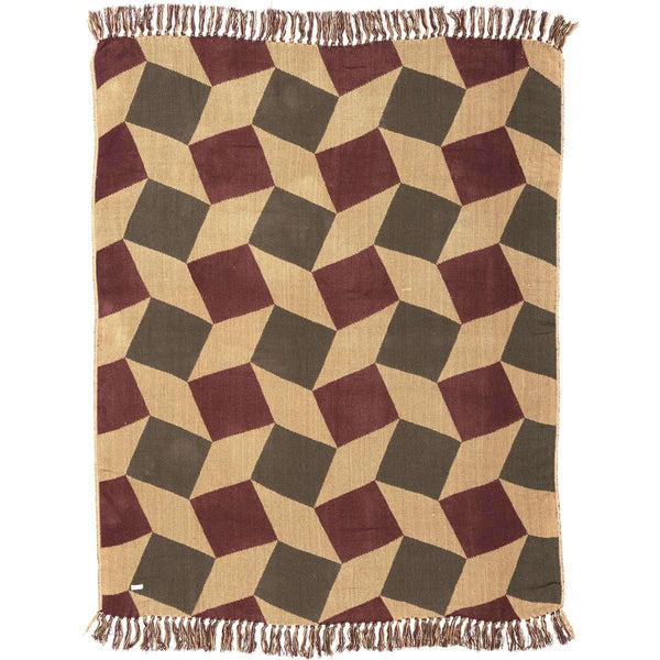 "Napa Valley Jacquard Woven Throw 60"" x 50"" Natural, Burgundy, Evergreen VHC Brands - The Fox Decor"
