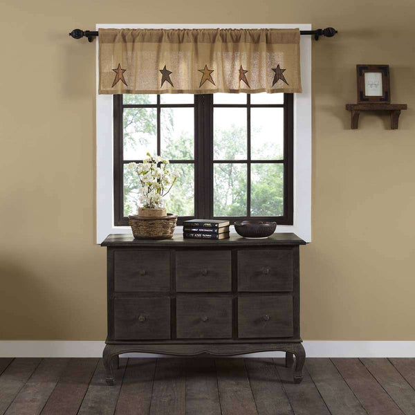 Stratton Burlap Applique Star Valance Curtain online