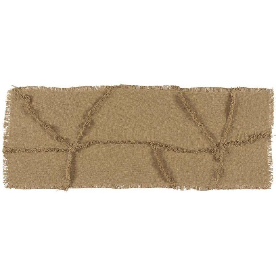 Burlap Natural Reverse Seam Patch Runner 13x36 VHC Brands