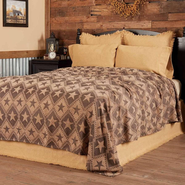 Jefferson Star King Chenille Woven Coverlet 114x103 VHC Brands