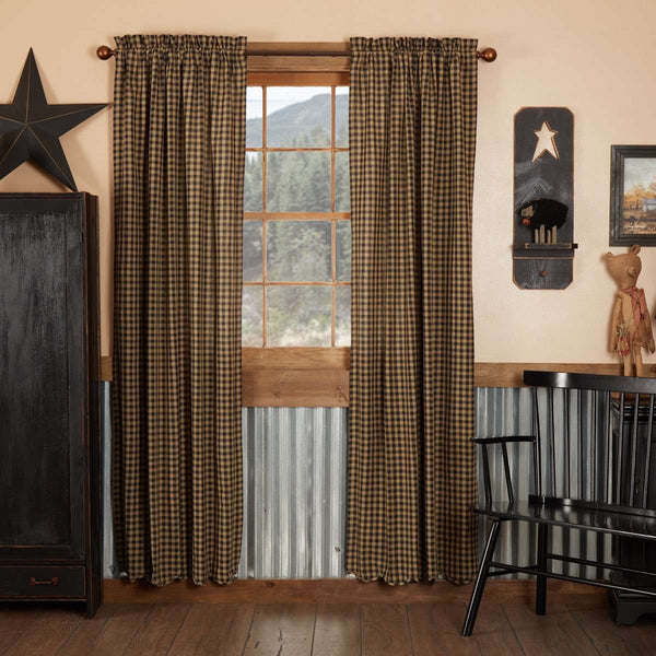 Black (Raven, Khaki) Check Scalloped Panel Curtain