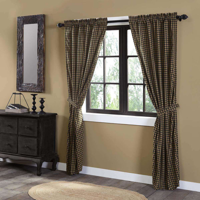 Black (Raven, Khaki) Check Scalloped Panel Curtain Set of 2