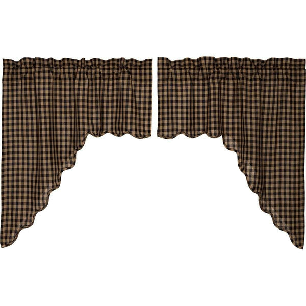 Black Check Scalloped Swag Curtain Set of 2 36x36x16