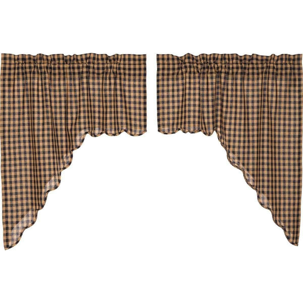 Navy Check Scalloped Swag Curtain Set of 2 36x36x16