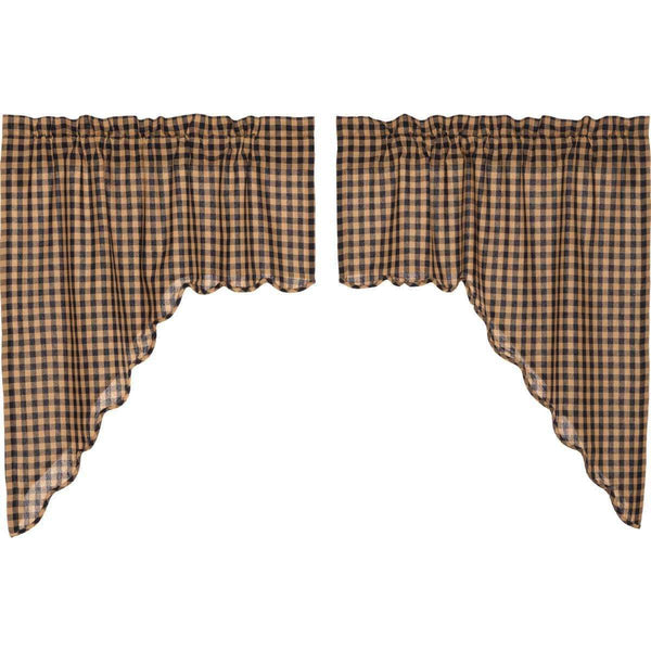 "Navy Check Scalloped Swag Curtain Set 36"" x 36"" VHC Brands - The Fox Decor"