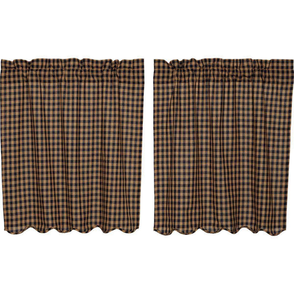 Navy Check Scalloped Tier Curtain Set VHC Brands - The Fox Decor