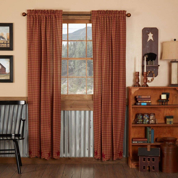 Burgundy Star Scalloped Panel Country Curtain Set of 2 84