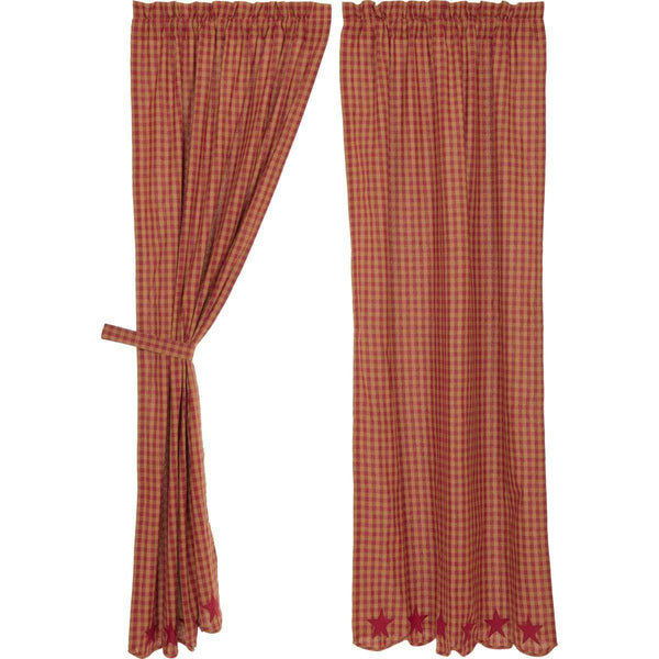 "Burgundy Star Scalloped Panel Country Curtain Set of 2 84""x40"" - The Fox Decor"