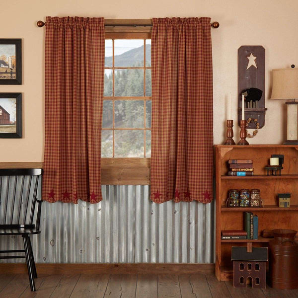 "Burgundy Star Scalloped Short Panel Country Curtain Set of 2 36""x63"" - The Fox Decor"