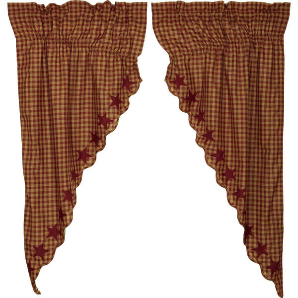 Burgundy Star Scalloped Prairie Short Panel Curtain Set of 2 - The Fox Decor