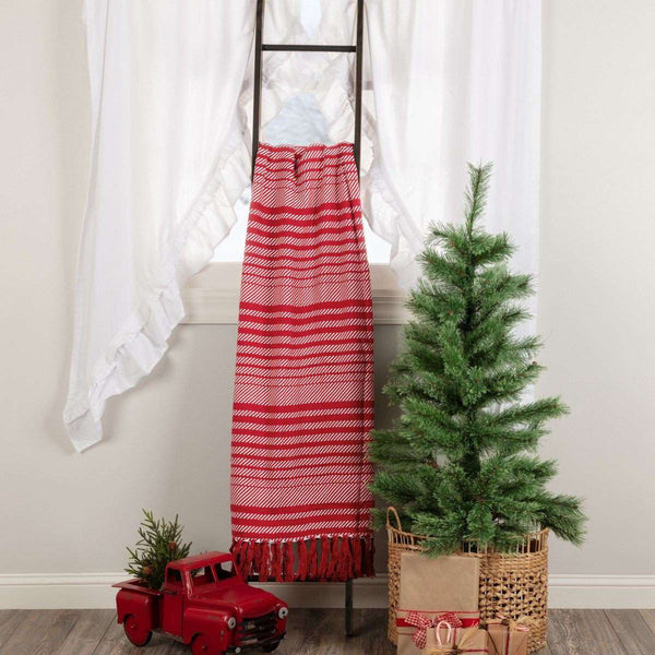 "Whimsical Candy Cane Stripe Woven Throw 60"" x 50"" VHC Brands - The Fox Decor"
