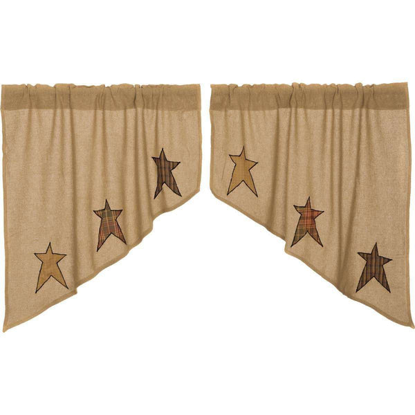 "Stratton Burlap Applique Star Swag Curtain Set 36"" x 36"" VHC Brands - The Fox Decor"