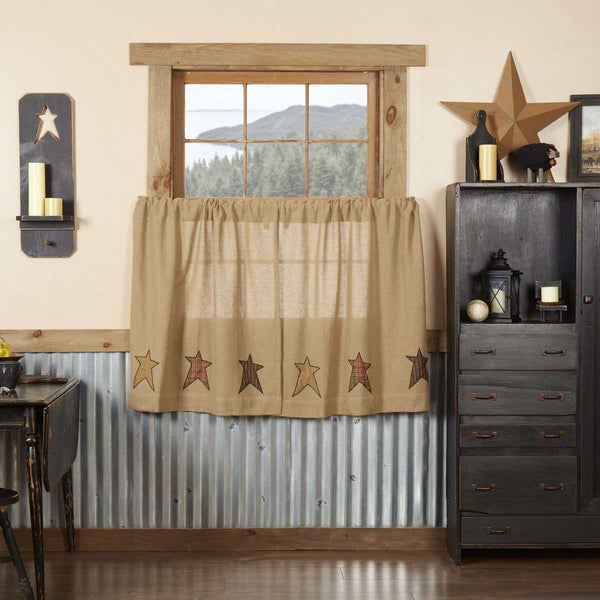Stratton Burlap Applique Star Tier Curtain Set VHC Brands - The Fox Decor
