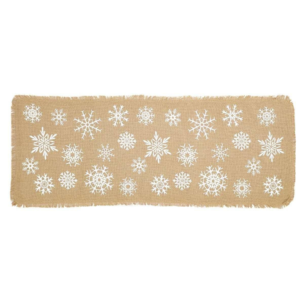 Snowflake Burlap Natural Runner 13x36 VHC Brands