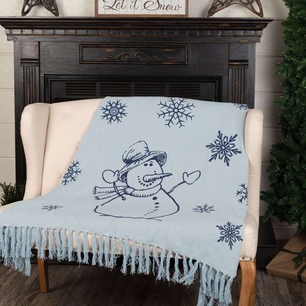 "Happy Snowman Navy Woven Throw 60"" x 50"" VHC Brands - The Fox Decor"