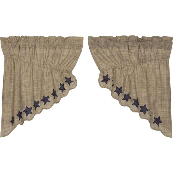 Vincent Scalloped Prairie Swag Curtain Set of 2 - The Fox Decor
