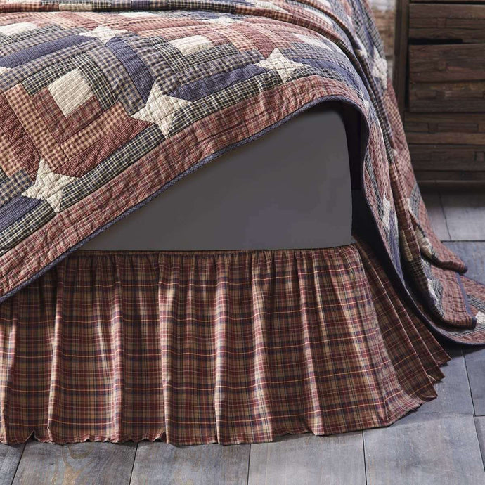 Parker Bed Skirts Burgundy, Natural, Navy VHC Brands - The Fox Decor